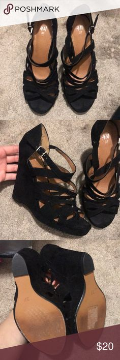 H&M black suede strappy wedges size 37 Worn twice in great condition H&M Shoes Wedges