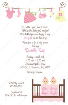 10 Twin Girls Baby Shower Laundry Invitations by BethCloud723