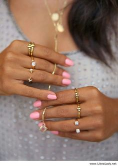 Light pink nails and rings