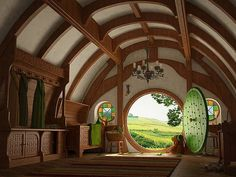 I really want to live in a hobbit house. A taller version of a hobbit house. Hobbit Casa, The Hobbit, Hobbit Door, Hobbit Hotel, Casa Dos Hobbits, Kids Wall Murals, Round Door, Earth Homes, Home Wallpaper