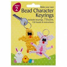 Make Your Own Bead Character Keyrings - Easter Crafts - Easter Cancer Research Uk, Cupcake Boxes, Make Your Own, How To Make, 70th Birthday, Bake Sale, Paper Plates, Easter Crafts, Doilies