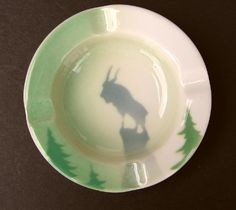 """Great Northern Railroad """"Rocky"""" Glory of the West China Ash Tray"""