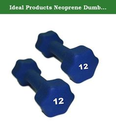 Ideal Products Neoprene Dumbbells Pair - 12 lb. These are Ideal Products' Neoprene Dumbbells. They are simple, effective neoprene coated iron hand weights that provide a soft grip and reduce slip. Perfect for jogging, aerobics, power walking, general exercise and physical therapy, these dumbbells are available at each pound from 1 to 10 lb, and afterward, up to 30 lbs in increasing increments.