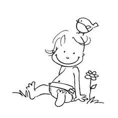 Scrapbooking - Artemio - Tampon bois - Bébé, fleur & oiseau - 5,3 x 5,3 cm