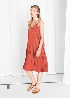 & Other Stories image 2 of V-neck Slip Dress in Rust
