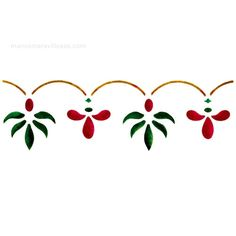 Manos Maravillosas Plantilla de estarcir: Cenefas flores                                                                                                                                                                                 Más Stencil Painting, Tole Painting, Fabric Painting, Border Embroidery Designs, Embroidery Patterns, Machine Embroidery, Folk Art Flowers, Flower Art, Stencil Designs