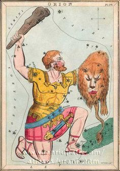 "Orion the hunter. You can see the hunter with his raised club in this depiction from the 19th century work ""Urania's Mirror."" ©Mona Evans, ""Orion the Hunter"" http://www.bellaonline.com/articles/art19756.asp"
