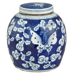 Ginger Jar in Blue and White with Butterfly and Flowers #ChineseAccessories