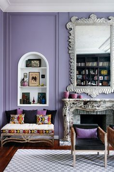 Looking for small living room ideas? The best small living room designs from the House & Garden archive. Mexican Furniture, Modern Furniture, Furniture Design, Small Living Rooms, Living Room Designs, Modern Living, Salons Violet, Purple Rooms, Purple Walls