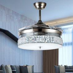 Modern LED Invisible Crystal Ceiling Fans 36inch/42inch Alloy With Lights  Bedroom Folding Ceiling Fan