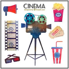 Collection of watercolor cinema material Premium Vector