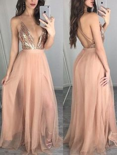 Sexy Depp V Neck Champagne Long Tulle Prom Dress Formal Evening Dress