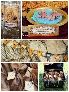 pirate party decoration ideas - lots of netting and maybe burlap