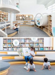 This quiet room at a children's play center has a with a library of books, where the children can sit and read by themselves, or with an adult. Tiered seating and various reading nooks create unique spaces for reading and storytelling. Library Architecture, School Architecture, Interior Architecture, Classroom Architecture, Kindergarten Interior, Kindergarten Design, School Library Design, Kids Library, Daycare Design