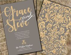 Gold and Gray Wedding Invitation, Gray and Coral Wedding Invitation, Gold Glitter Wedding Invitation, Gray Wedding Invitation, Gold Damask Gold Glitter Wedding, Gold Wedding Colors, Maroon Wedding, Grey Wedding Decor, Wedding Reception Decorations, Boho Wedding, Burgundy Wedding Invitations, Glitter Invitations, Grey And Coral