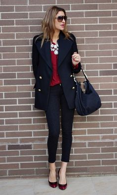 casual navy + deep red