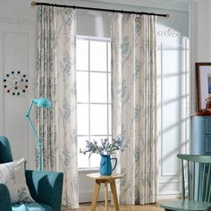 White Botanical Print Linen/Cotton Blend Custom Country Curtains for Bedroom or Living Room Curtain Store, Curtain Room, Nursery Curtains, Door Curtains, Linen Curtains, Blue Curtains, Blackout Curtains, Colorful Curtains