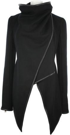 Gareth pugh Virgin Wool and Lambskin Asymmetrical Jacket in Black