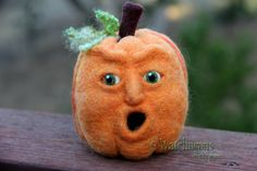 Jack O Lantern Needle Felted Wool Pumpkin Face