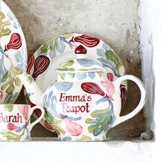 Personalised Pink Figs 4 Cup Teapot 2016