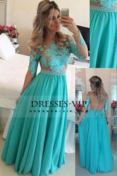 2016 Long Sleeves Prom Dresses Scoop A Line Chiffon Floor Length With Appliqur