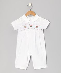 Take a look at this White Candy Cane Playsuit - Infant by Fantaisie Kids on #zulily today!