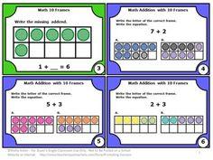 FREE Frames: Task Cards - You will receive a sampler of 6 task cards for students to practice 10 frames.   https://www.teacherspayteachers.com/Product/10-Frames-Task-Cards-Free-Download-Kindergarten-Math-Centers-1790807