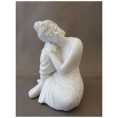 Boeddha steunend op knie, glanzend wit Sculpture, Statue, Gifts, Art, Art Background, Favors, Kunst, Gcse Art, Presents