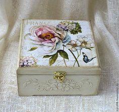 Купить шкатулка Цветы Франции - белый, шкатулка, шкатулка декупаж, шкатулка деревянная, шкатулка для мелочей