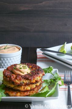Roasted Corn Zucchini Fritters with Chipotle Lime Cream. Healthy Coconut Oil is used for cooking.