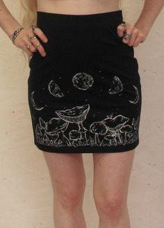 Mushroom Moon size L handpainted black skirt by MoonInTaurus