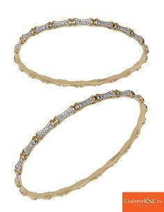 A gorgeous Amavida 14k Yellow Gold Diamond Bangle from Gabriel & Co.
