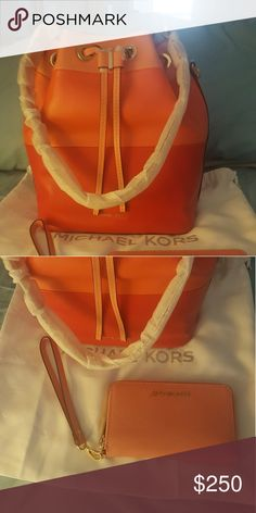 NWT Michael Kors Large Bucket bag and Wallet Colors are Peach, Persimmon, and Grapefruit.  Matching Wristlet Zip Around wallet in Peach color. Both NWT. Michael Kors Bags Shoulder Bags