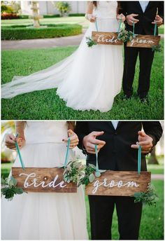 Bride and groom sign decal! Stick on the board or surface you want! See 20 more cute and creative ideas here: http://www.confettidaydreams.com/mr-and-mrs-signs/
