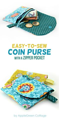 Coin purse sewing pattern with zipper. A cute little coin purse PDF pattern comp. Coin purse sewing pattern with zipper. A cute little coin purse PDF pattern complete with beginner friendly instructions. Get your pattern here! Easy Sewing Projects, Sewing Projects For Beginners, Sewing Hacks, Sewing Tutorials, Sewing Crafts, Sewing Tips, Hobo Bag Tutorials, Learn Sewing, Sewing Basics