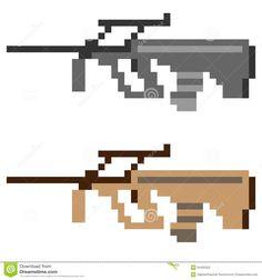 Illustration Pixel Art Icon Gun Assault Rifle Illustration ...