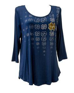 Notre Dame Fighting Irish Women's Repeat Logo Hi-Lo Splittail 3/4 Sleeve
