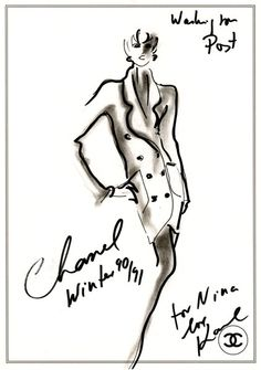 Karl Lagerfeld sketch for Chanel, signed for Nina Hyde. Part of the Nina Hyde collection.