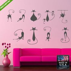 Wall Vinyl Decal Decal Sticker Beautiful Animals Cat Cats Bedroom z98