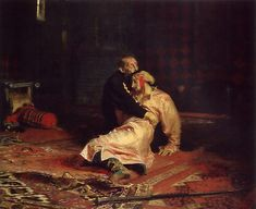 Ilya Repin-- One of my favorite paintings. Supposed to depict Czar Ivan IV in the moment after he has murdered his son. Saw it thanks to Acadec:)