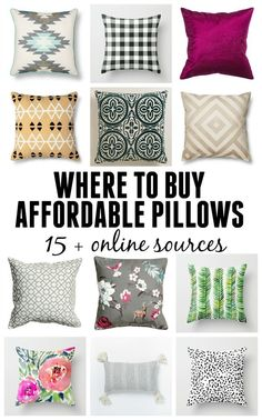 Great resource for where to buy affordable pillows. 15+ online sources for decorative pillows at budget prices.