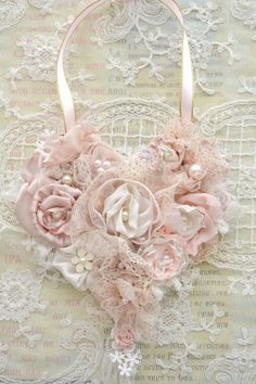 Beautiful Handmade Ribbon Work Heart by Jennelise Rose