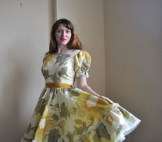 Full Skirt Dancing Dress   Yellow Spring by WayfaringMagnolia, $83.00