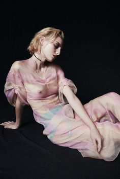 Dior's silk organza dress and necklace and Blush's polyamide and elastane bottoms.