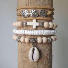 beach bohemian bracelet stack , 4 gypsy mermaid bracelets , beach boho bracelets , shell bracelet , beachcomber bracelets