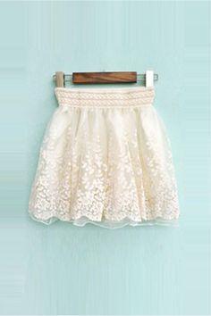 Elastic Waist Rose Pattern Vintage Short Skirt