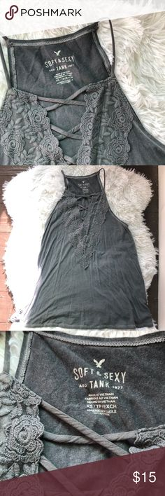 e71a943315d4d2 American Eagle Tank Beautiful high neck tank with laced neckline. Super  soft and so versatile