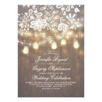Rustic Wood Mason Jar String Lights Fall Wedding Card