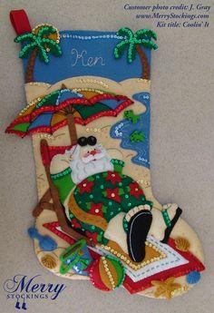 Customer photo of Bucilla stocking kit Coolin It Santa. Photo was sent to MerryStockings - nice work J. Gray, looks great! Felt Stocking Kit, Christmas Stocking Kits, Christmas Wood Crafts, Felt Christmas Stockings, Stocking Tree, Felt Christmas Ornaments, Christmas Crafts, Diy Crafts For Gifts, Felt Crafts