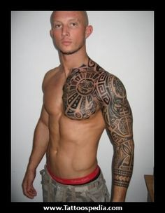 Aztec Chest And Sleeve Tattoo For Men